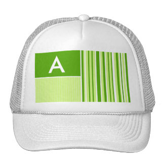 Modern Green Stripes Striped Mesh Hat