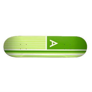 Modern Green Stripes; Striped Custom Skateboard