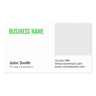 Modern Green Title Programmer Business Card