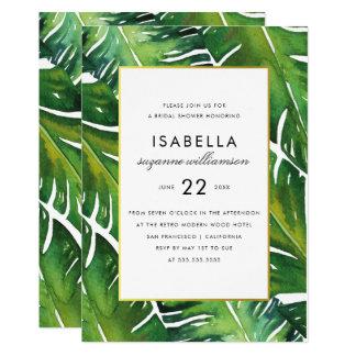 Modern Green Tropical Leaves Bridal Shower Card