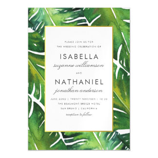 Modern Green Tropical Leaves Wedding Magnetic Card