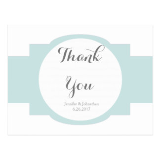 Modern Green wedding thank you postcards