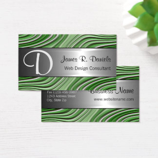 Modern Green White 3D Liquid Swirls Pattern Business Card