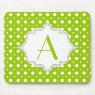 Modern green, white polka dot pattern & monogram mouse pad