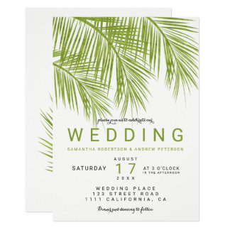 Modern greenery palm tree watercolor wedding card