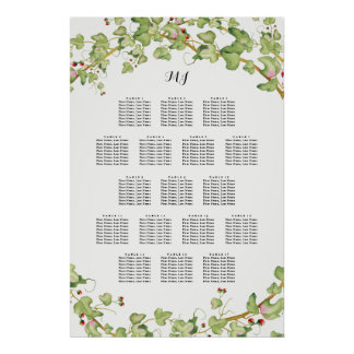 Modern Greenery Wedding Seating Table Chart