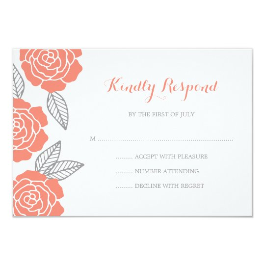 Modern Grey and Coral Rose Wedding RSVP Card