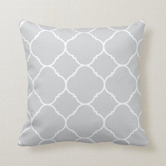 Modern Grey and White Quatrefoil Lattice Pattern Cushion