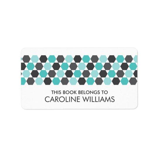 Modern grey aqua blue hexagon bookplate book label
