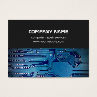 Modern Grey Blue Circuit Board Computer Repair Business Card