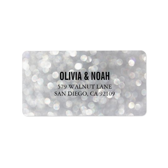 Modern Grey Bokeh Elegant Wedding Address Labels