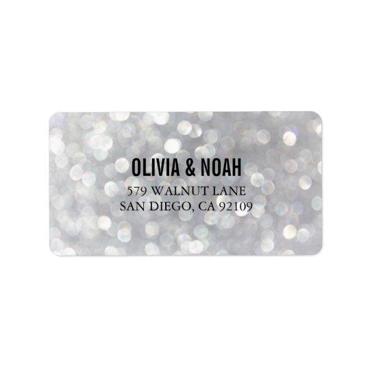 Modern Grey Bokeh Elegant Wedding Address Labels
