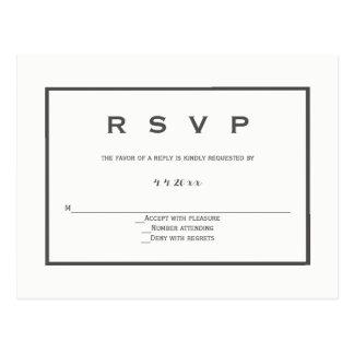 Modern grey border wedding rsvp postcards