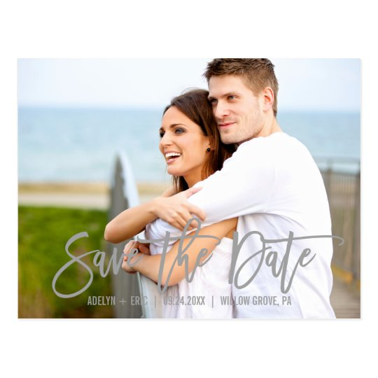 Modern Grey Calligraphy Save the Date Photo Postcard