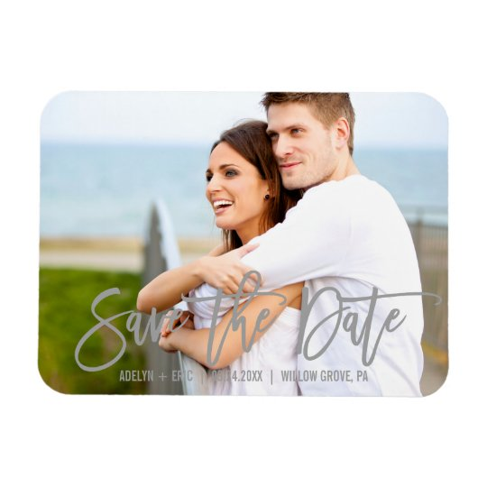 Modern Grey Calligraphy Save the Date Photo Rectangular Photo Magnet