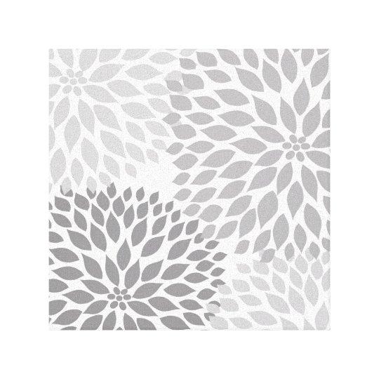 Modern Grey Dahlia Square Wall Art, grey floral