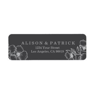 Modern Grey Floral Address Labels