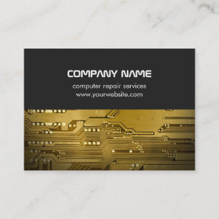 Gold circuit board business cards business card printing zazzle uk modern grey gold circuit board computer repair business card colourmoves