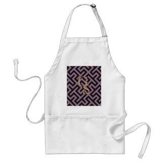 Modern grey greek key geometric patterns monogram standard apron
