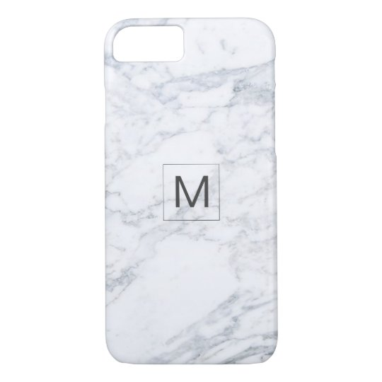 Modern Grey Marble Texture Monogram Barely There iPhone