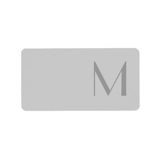 Modern Grey Monogram Address Labels