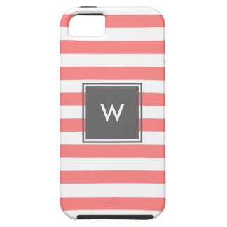 modern grey monogram with coral stripes iPhone 5 cover
