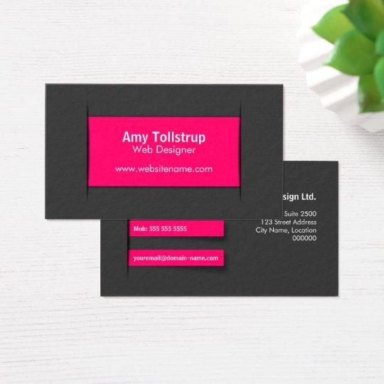 Modern Grey Pink Business Card