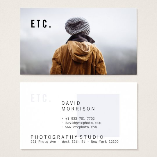 Modern grey professional photographer portfolio business card