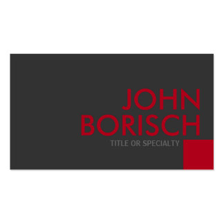 Modern Grey Red Square Business Card