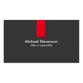 Modern Grey Red Stripe Standard Business Card