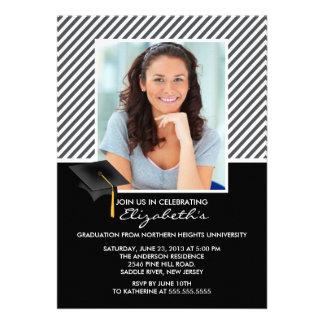 Modern Grey Stripe Graduation Party Announcement