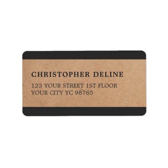 Modern Grey Stripes Kraft Paper Label Address Label
