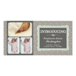 Modern grey teal flowers photo baby announcement picture card