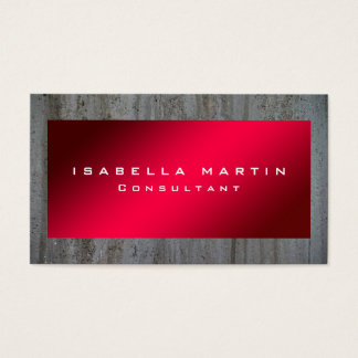 Modern Grey Wall Red Unique Trendy Creative Business Card