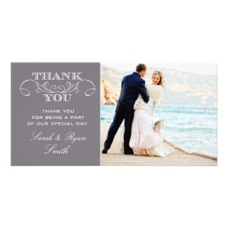 Modern Grey Wedding Photo Thank You Cards