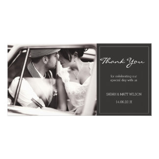 Modern Grey Wedding Thank You Photocard Custom Photo Card