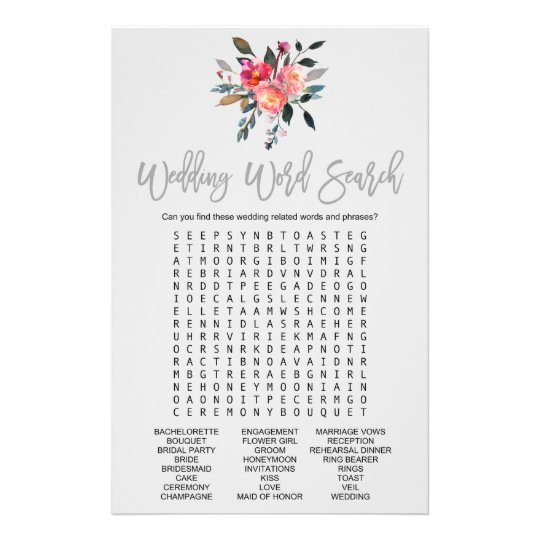 modern gray wedding word search game flyer zazzle co uk
