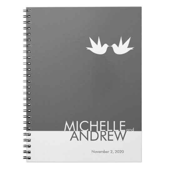 Modern Grey White Wedding Guest Book Organiser