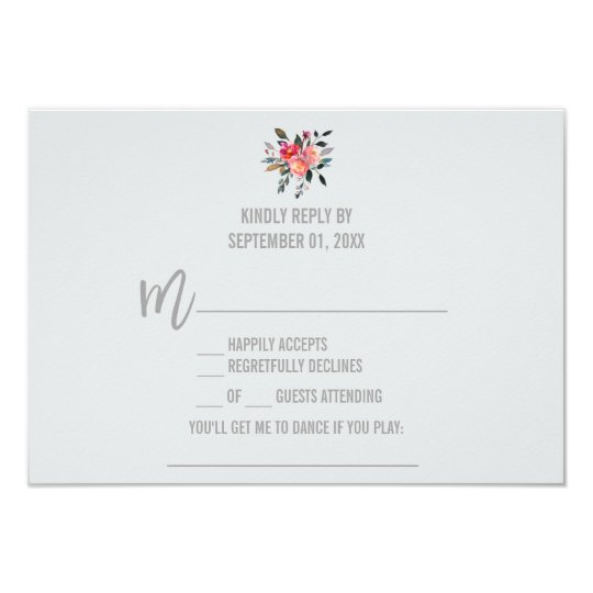 Modern Grey | Winter Flower Song Request RSVP Card