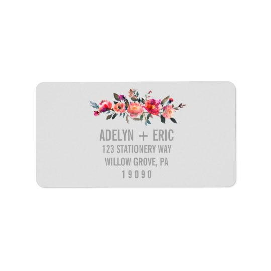 Modern Grey | Winter Flower Wedding Address Label