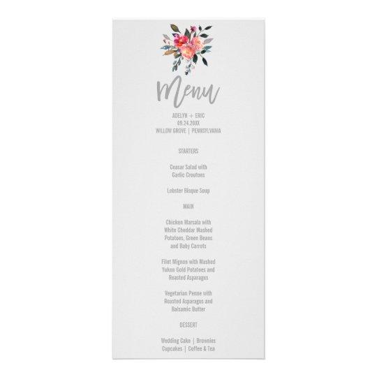Modern Grey | Winter Flower Wedding Menu Card Rack Card Template