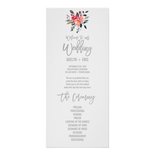 Modern Grey | Winter Flower Wedding Program 10 Cm X 23 Cm Rack Card