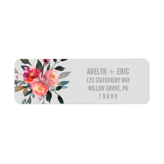 Modern Grey | Winter Flower Wedding Return Address Label