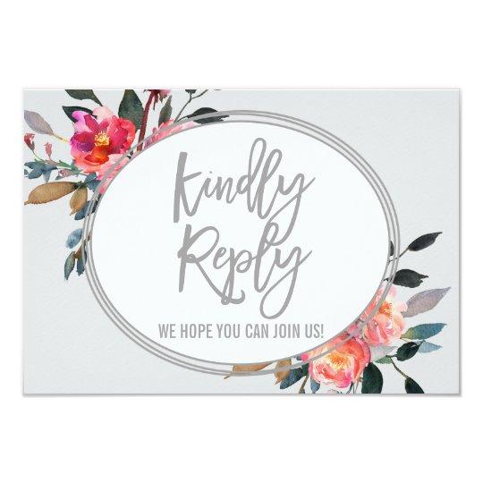 Modern Grey | Winter Flower Wedding Website RSVP Card
