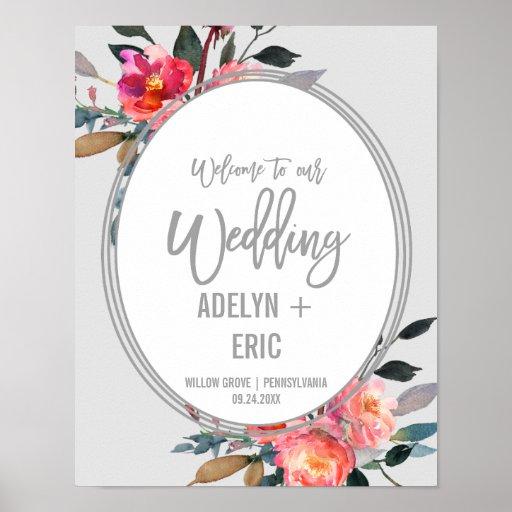 Modern Grey | Winter Flower Wreath Wedding Welcome Poster