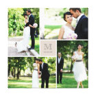 Modern Grid Monogram Wedding Photo Collage Canvas