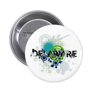 Modern Grunge Halftone Delaware Button