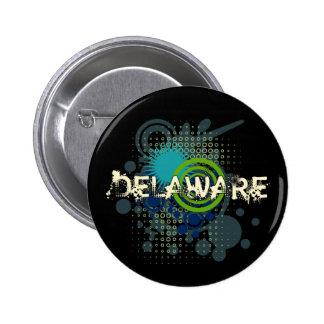 Modern Grunge Halftone Delaware Button Dark