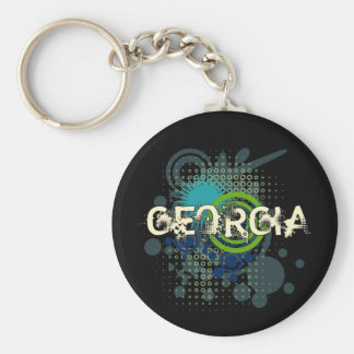 Modern Grunge Halftone Georgia Keychain Dark