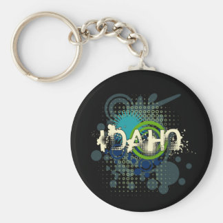 Modern Grunge Halftone Idaho Keychain Dark